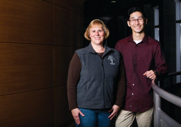 10/02/2018 - Grafton, Mass. - Student Wellness Advisor Dr. Lynn Roy and Makoto Sakamoto, V19, pose for a portrait in the Agnes Varis Campus Center on Oct.2, 2018.  (Anna Miller/Tufts University)